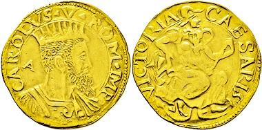 3222: Italien-Neapel. Carlo V. 1516-1556. Doppia d'oro. Taxe: 5.000 Euro.