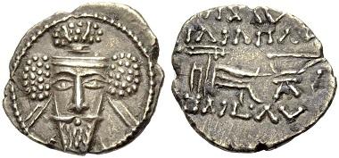 Vologases V., 191-208. Drachme. Aus Auktion Münzen & Medaillen GmbH 43 (2016), 134.
