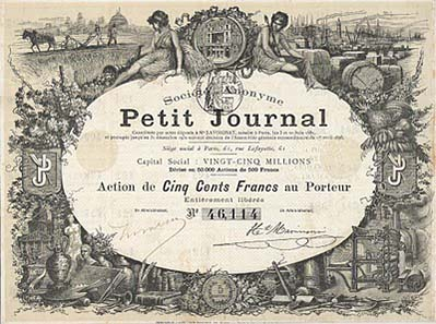 Share certificate of Le Petit Journal Action de 500 Francs, 1896. Design by Meyer and engraving by Meaulle. The sou appears in the design of the lower border, but also twice in the underprint.