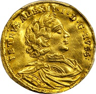 3311: Russia. Ducat, 1716. Peter I (The Great) (1689-1725). PCGS AU-55 Secure Holder. Relized: 117,500 USD.