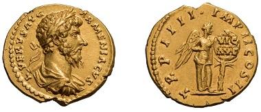 Lot#15: Lucius Verus, 161-169 AD. Aureus, 164, Rome.