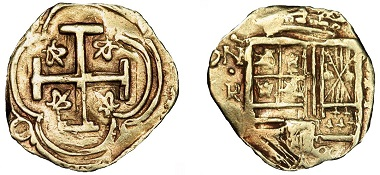 Lot #389: Colombia. 2 Escudos, circa 1635. VF.