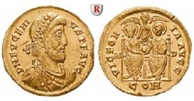 Römische Kaiserzeit. Eugenius 392-394. Solidus 392-394, Mailand. Fast prägefrisch. 22.000 EUR.