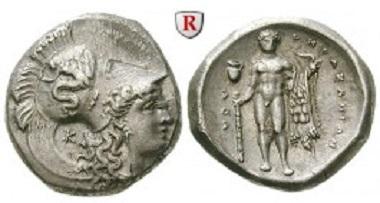 Griechen. Italien-Lukanien. Hereklaia. Stater 330/325-281 v.Chr. fast stempelfrisch. 2.250 EUR.