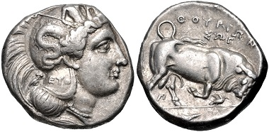 Lot 3: Lucania, Thourioi. Double Nomos-Distater, circa 350-300 BC. VF. Estimate: 1,000 USD.