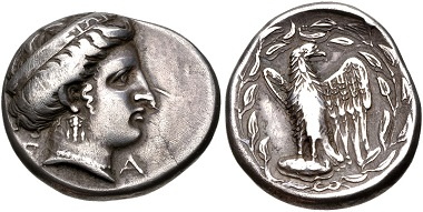 Lot 116: Elis, Olympia. Stater, 336 BC. VF. Estimate: 3,000 USD.