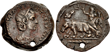 Lot 483: Unpublished Julia Mamaea Drachm with Nilus in Hippopotamus Biga. Estimate 3,500 USD. Realized: 9,500.