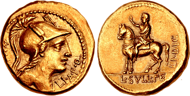 Lot 519: Gold Aureus Honoring Sulla as Dictator. Estimate: 200,000 USD. Realized: 475,000 USD.
