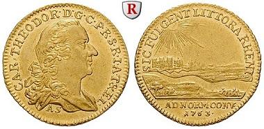 Altdeutschland, Pfalz. Karl Theodor 1743-1799. Dukat 1763. Mannheim. Vorzüglich. 3.750 EUR.
