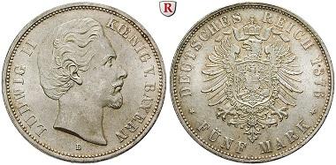 Deutsches Kaiserreich, Bayern. Ludwig II 1864-1886. 5 Mark 1876. D. Fast stempelfrisch. 720 EUR.