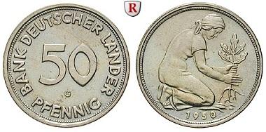 Bundesrepublik Deutschland. 50 Pfennig 1950. G. Fast stempelfrisch. 370 EUR.
