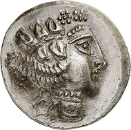 Lot 9: Celts. Imitation Thasos. Class III. Tetradrachm, after 148, unknown mint. From the collection of a Munich-based doctor. Extremely fine. Estimate: 750,- euros.