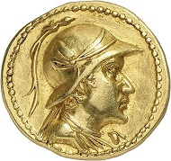 Lot 369: Eucratides, ca. 171-145 (Bactria). Gold stater, Baktra Mint. Extremely fine. Estimate: 20,000,- euros.