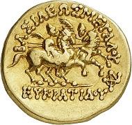 Nr. 369: Eukratides, ca. 171-145 (Baktrien). Goldstater, Mzst. Baktra. Vorzüglich. Taxe: 20.000,- Euro.