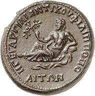 Lot 395: Philippopolis (Thrace). Antoninus Pius, 138-161. AE medallion. Dark brown patina. Smoothed. Extremely fine. Estimate: 1,200,- euros.