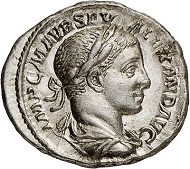 Nr. 568: Severus Alexander, 222-235. Denar, 224, Rom. Vorzüglich. Taxe: 15.000,- Euro.
