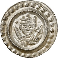 Nr. 3027: Ulm. Konrad IV. bis Konradin, 1237-1254-1268. Brakteat um 1250. Äußerst selten. Vorzüglich bis Stempelglanz. Taxe: 3.000,- Euro.