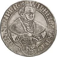 Nr. 3106: Henneberg-Schleusingen. Wilhelm V., 1480-1559. Taler, 1555, Schleusingen. Sehr selten. Fast vorzüglich. Taxe: 1.500,- Euro.