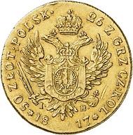 Nr. 3744: Russland. Alexander I., 1801-1825, für Polen. 50 Zlotych polsk, 1817, Warschau. Sehr schön bis vorzüglich. Taxe: 5.000,- Euro.