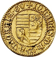 Lot 3821: Hungary. John Hunyadi, 1446-1462. Gold gulden n. d. Extremely rare. Extremely fine to mint state. Estimate: 6,500,- euros.