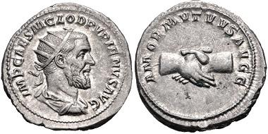 Lot 503: Pupienus. Antoninianus, AD 238. Near EF. Estimate: 200 USD.