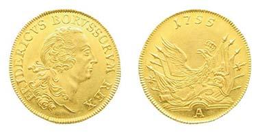 Los 176. PREUSSEN. Friedrich II. Friedrichs d'or 1755A, Berlin. Fried. 2392. Vorzügliches Prachtexemplar. Ausruf: 3.000 Euro. Zuschlag: 9.000 Euro.