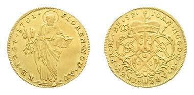 Los 1154. TRIER. Johann Hugo von Orsbeck. Goldgulden 1701, Koblenz. Fried. 3471. Vorzüglich. Ausruf: 5.000 Euro. Zuschlag: 8.400 Euro.