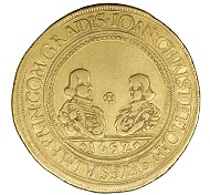 Johann Christian and Johann Seyfried von Eggenberg. Tenfold ducat 1652, Crumlaw.34.61 g. From the Coin Cabinet of the Joanneum. Inv.-Nr. MK 3853. Exhibition catalogue 85. Photo: © UMJ.