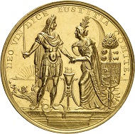 Lot 5074: Great Britain. James II, 1685-1688. Gold medal 1688 by R. Arondeaux on the landing of William III of Orange-Nassau in Torbay. Extremely rare. Almost extremely fine. Estimate: 25,000,- euros.