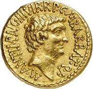 Nr. 331: Römische Republik. Marcus Antonius und Octavianus. Aureus, 41, Ephesos. M. Barbatius Münzmeister. Sehr selten. Fast vorzüglich. Taxe: 50.000,- Euro.