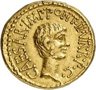 Lot 331: Roman Republic. Marc Antony and Octavian. Aureus, 41, Ephesus. Mint master M. Barbatius. Very rare. Almost extremely fine. Estimate: 50,000,- euros.