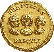 Nr. 679: Septimius Severus, 193-211, mit seiner Familie. Aureus, 201. Sehr selten. Fast vorzüglich. Taxe: 30.000,- Euro.