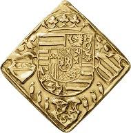 Nr. 1535: RDR. Ferdinand I., 1522-1558-1564. Goldabschlag zu 2 Dukaten von den Stempeln der 1/4 Talerklippe 1529, geprägt während der Belagerung der Stadt Wien durch die Türken. 3. bekanntes Exemplar. Sehr schön bis vorzüglich. Taxe: 10.000,- Euro.