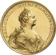 Nr. 1954: Russland. Katharina II., 1762-1796. Goldmedaille zu 35 Dukaten 1774 von T. Iwanoff auf den Frieden mit der Türkei. Äußerst selten. Vorzüglich bis Stempelglanz. Taxe: 50.000,- Euro.