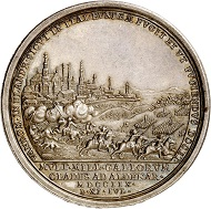 Lot 2603: Holy Roman Empire. Joseph I, 1705-1711. Silver medal 1708 by P. H. Müller on the victory near Oudenaarde by Prince Eugene and the Duke of Marlborough. Extremely fine. Estimate: 1,000,- euros.