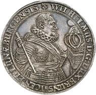 Nr. 3001: Braunschweig-Harburg. Wilhelm, 1603-1642. Löser zu 1 1/2 Reichstalern o. J. (1618/19), Harburg. Gießener Münzhandlung 10 (1977), 313a. Äußerst selten. Vorzüglich. Taxe: 30.000,- Euro.