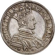 Nr. 4070: Dänemark. Christian IV., 1588-1648. Speciedaler 1597, Kopenhagen. Aus Slg. Christensen. Sehr selten. Sehr schön. Taxe: 7.500,- Euro.