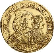 Nr. 5114: Savoyen / Italien. Carlo Emanuele II., 1638-1675, unter Vormundschaft seiner Mutter Maria Christina, 1639-1648. 10 Scudi 1641, Turin oder Chambéry. Äußerst selten. Sehr schön. Taxe: 100.000,- Euro.