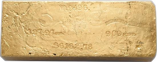 Justh & Hunter Gold Ingot. 327.97 Ounces.