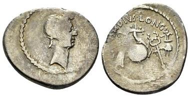 Lot 565: Julius Caesar and L. Mussidius Longus. Denarius, circa 42. From the E.E. Clain Stefanelli collection. Good Fine. Starting Bid: 100 GBP.