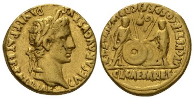 Lot 585: Octavian as Augustus, 27 BC-14 AD. Aureus, circa 2 BC-4 AD. Good Very Fine. Starting Bid: 1,000 GBP.