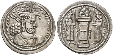 Hormuzd II, 303-309. Drachm. Rv. fire altar with bust. From Künker sale 273 (2016), Nr. 427.