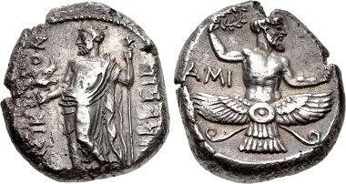 The reverse features Ahura Mazda as we know him from Persian depictions. Yet, the coin was minted in Issus (Cilicia) under the Persian satrap Tiribazus. From CNG sale 97 (2014), 257.