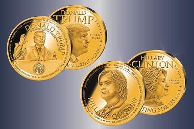 Numismatische Sammlerstücke, die auch zum Wahlprognose-Tool taugen: Sonderprägungen von American Mint zu den Präsidentschaftskandidaten Trump und Clinton. Bild: Bayerisches Münzkontor/American Mint.