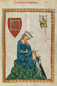 Walther von der Vogelweide. Codex Manesse, UB Heidelberg, Cod. Pal. germ. 848, fol 124r.