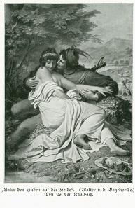 Die Vorliebe des 19. Jh. für das Mittelalter machte den guten Walther zum Star, leider erst lange nach seinem Tod. Postkarte nach dem Gemälde von Wilhelm von Kaulbach.