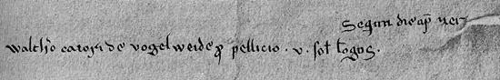 Nennung von Walther in der Reiserechnung des Bischofs.