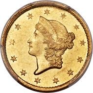 1849-C Open Wreath Dollar.