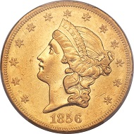 1856-O Liberty Double Eagle, AU55 PCGS.