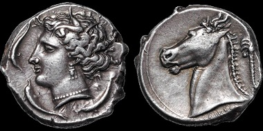 Lot 24: Greek. Siculo-Punic. Tetradrachm, 4th Century B.C. Ex Lockett. SNG Lockett 1052. Good Very Fine. Estimate: 3,500 USD.